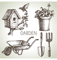 Sketch gardening set vector image vector image