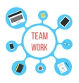 concept of team work with blue bubble vector image