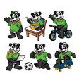 cartoon character set of cute little panda vector image