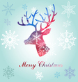 Christmas reindeer silhouette portrait vector image