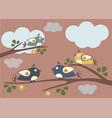 cute birds tweeting on a tree vector image