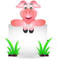funny pig cartoon with blank sign vector image