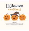 Halloween emoticon face icons set vector image