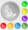 Kangaroo Icon sign Symbol on eight flat buttons vector image