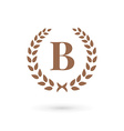 Letter B laurel wreath logo icon vector image
