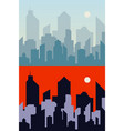 morning and night town background city skyline vector image