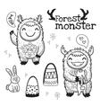 Outline hand drawn cartoon forest monsters vector image