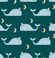 Seamless pattern with sleeping whales moon stars vector image
