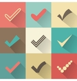 Set of different retro check marks or ticks vector image