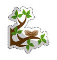 tree branch with nest nature isolated icon vector image