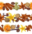 Seamless borders with various spices vector image