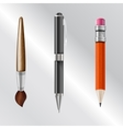 writing implements including pencil pen brush vector image