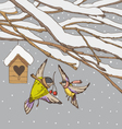 Birds on a winter backgrounds vector image