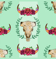 cow skull seamless pattern with roses vector image