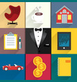 Icons set for luxery life with tuxedo vector image