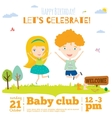 birthday invitation card on baby party with vector image