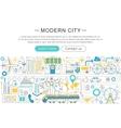 modern line flat design Modern smart city vector image