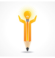 Save energy concept with pencil hands vector image