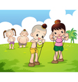Traditional Thai boy and girl playing vector image
