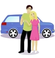 Happy couple with car keys vector image vector image