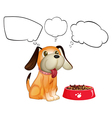 A puppy beside his dogfood with empty callouts vector image vector image