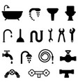 plumbing and bathroom icons vector image vector image