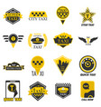 taxi web icons set yellow checkered flag star vector image