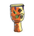 african tam tam drum hand drawn icon vector image