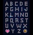 Diamond light pixel font vector image