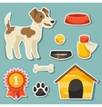 Set of sticker icons and objects with cute dog vector image