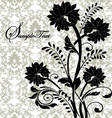 black flowers on gray damask background vector image