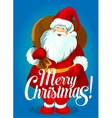 Christmas poster of Santa Claus with gift bag vector image