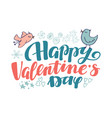 happy valentine day lettering and doodle elements vector image