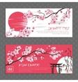 Japan Sakura Horizontal Banners Set vector image