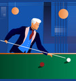 man playing snooker in the dark club vector image