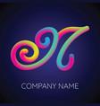 n letter logo icon blending color vector image