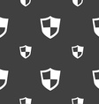 shield icon sign Seamless pattern on a gray vector image