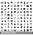 100 europe icons set simple style vector image vector image