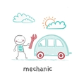 mechanic holds the key and stands near the car vector image vector image
