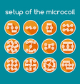 Color set of icons Setup of the microcoil vector image