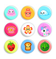 Kawaii badges ii vector