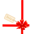 red gift bows with ribbons and sale labels vector image