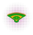 Baseball field icon comics style vector image