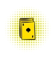 Ace of spades playing card icon in comics style vector image