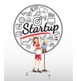 designer character with startup icons on white vector image