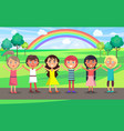 kids with raised hands celebrate 1 june in park vector image