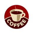 logo cup of black coffee vector image