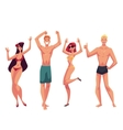 People dancing on the beach in swimming suits and vector image