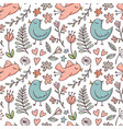 seamless pattern with birds and flowers on white vector image