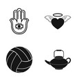 symbol heart and other web icon in black style vector image